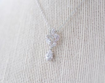 Aya Cubic Zirconia Necklace - Silver, CZ Bridal Necklace, Wedding Pendant Necklace, Crystal, Bridesmaid Necklace, Dainty Silver Necklace