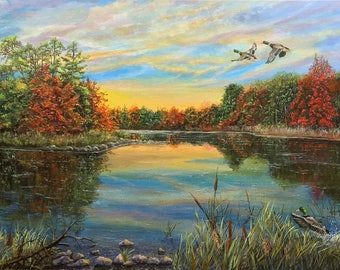 """12""""H x 24""""W Limited Edition Giclèe Print of my Acrylic Painting """"Fall Lake"""""""