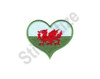 Wales Flag Heart - Machine Embroidery Design, Welsh Flag