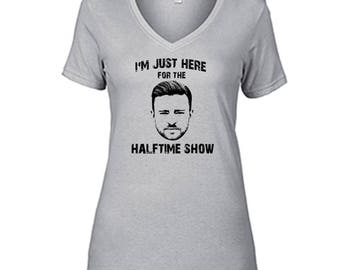 Justin Timberlake I'm Just Here For The Halftime Show T Shirt Ladies Semi-Fitted V-Neck Halftime Silver Tee