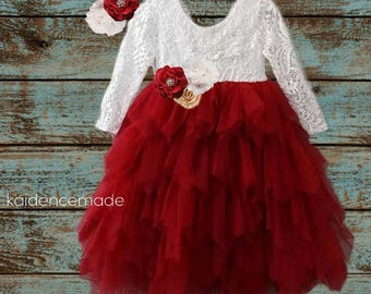 lace flower girl dress, burgundy lace dresses, wine red dress, long sleeve, toddler, country, rustic, red baby girl dress, burgundy