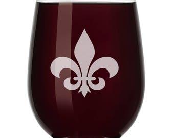 Fleur-de-lis Wine Glass Stemless or Stemmed