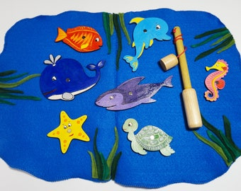 Baby Gift Fishing Toy Wooden Toddler Present Toddler Magnet Fishing Toys Fish Kids Fishing Set Ocean Animals Wooden Fish Eco Friendly Toy
