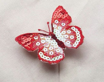 red butterfly patch/sequin patch /iron on /embroidered /gorgeous/high quality/diy/applique