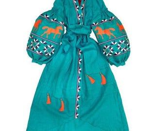 Bohemian Clothes Ukrainian Vyshyvanka Dress Vishivanka Kaftan Dubai Abaya Dresses Boho Clothing Ukraine embroidery Open in front