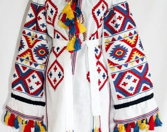 Ukrainian Embroidery Vyshyvanka Dress Bohemian Clothing Boho Tunic Embroidered Dresses Custom Embroidery Vishivanka Mexican Dress Chic