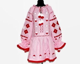 Ukrainian embroidered tunic mini dress pink linen vyshyvanka boho dresses bohemian clothing ethnic mexican embroidery modern vishivanka
