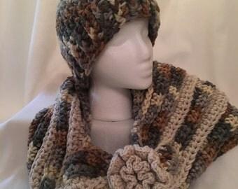 Handmade crochet beanie with matching infinity scarf