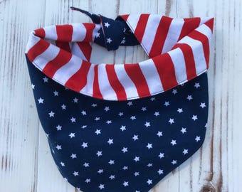 Reversible Dog Bandana, Stars/Red Stripes