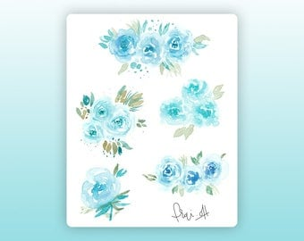 Light blue flowers stickers • Flower stickers • Watercolor stickers • Planner stickers • Bullet Journal stickers • Decorative stickers