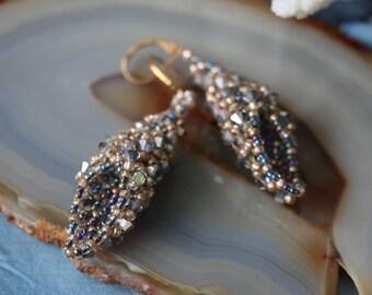 "Silver Swarovski Beaded Earrings ""Grita"""