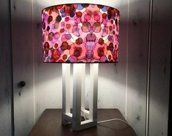 LAMPADA DI LEGNO, abat-jour , lampada da comodino, lampada artistica, lampada fatta a mano, lampada unica, lampada di design, acquerello