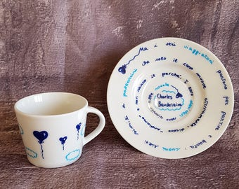Couple of cups for travel lovers-gift idea for travellers-cups painted with travel aphorisms