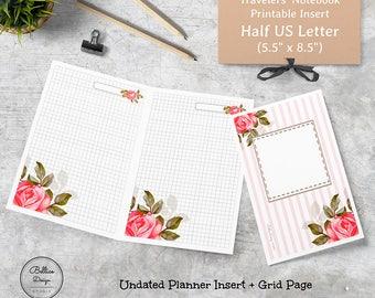 Digital Planner, Grid Printable, 5.5 x 8.5 Planner, 5.5x8.5 Printable Planner, Half Size Planner Inserts, Half Letter Planner Printables