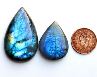 2pcs 171cts. 50x32mm 100% natural A+ quality beautiful blue flash labradorite Cabochon smooth hand polish jewelry making gemstone  SKU00133