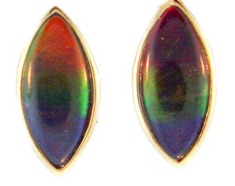 Pair of Large Marquise Shaped Canadian Ammolite set in 14k Yellow Gold