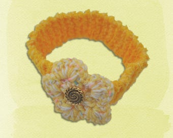 Knitted Headband, Flower Headband, Yellow Hairband, Girls Headband, Flower Hair Accessary, Knitted Hair Accessary, Girls Flower Headband,