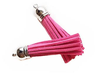 Long Pink Tassels - 10 Long Tassels with Silver Caps - Decorative Tassels For Jewelry - Purse Tassels - Key Chains - Pendants