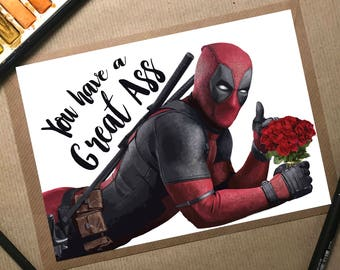 Deadpool, Deadpool Card, Deadpool Valentines, Deadpool Valentines Card,  Deadpool Gift, Deadpool