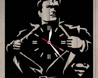 Wooden clock superman gift for men/Superman baby shower/Superman party decorations/Superman birthday party/Superman home decor/Superman art