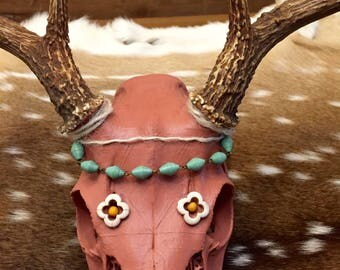 Real Whitetail Buck European Skull Mount- Painted & Embellished w/ beading and rope