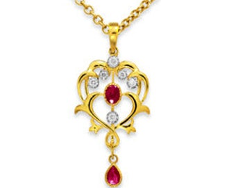 A 9CT. Yellow Gold Vintage Ruby and Diamond Pendant