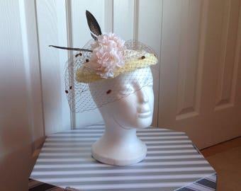 Beautiful sinamay handmade hat for wedding ladies day