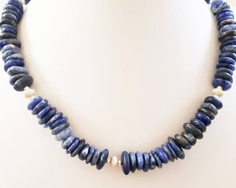 Gorgeous sodalite necklace. Sodalite  oval flat  beads. Sterling Silver beads. Stardust Silver beads.Blue sodalite necklace