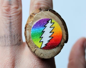 Grateful dead ring etsy rainbow grateful dead bolt wooden pendant on ring prinsesfo Gallery