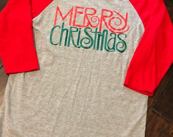 Merry Christmas Raglan, red/grey raglan, Christmas