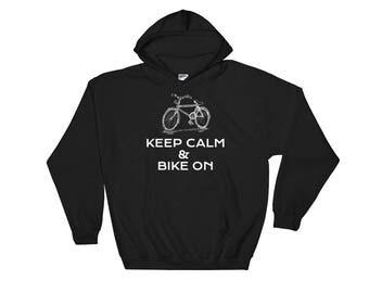 Keep Calm & Bike On Funny Hooded Sweatshirt