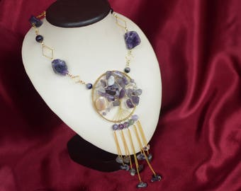 "Long necklace with pendant with amethyst ""Moonlight Sonata"""