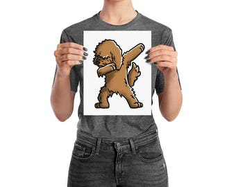 Funny Dabbing Goldendoodle Poster, Cute Goldendoodle Dog Wall Art