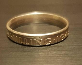 1943 Australian Shilling Coin Ring