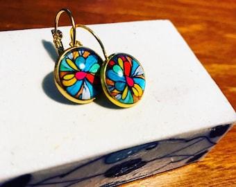 Dangle earrings,  glass earrings ,handmade earrings