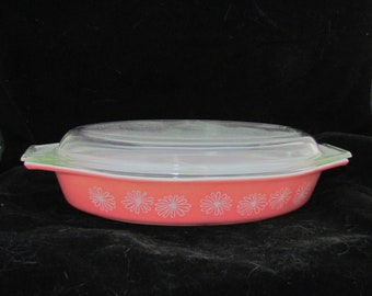 PYREX Pink Daisy Divided Casserole Dish with Lid 1.5 qt
