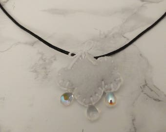 Felt cloud raindrop necklace