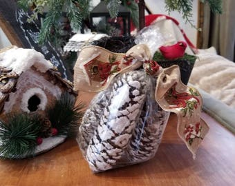 Set of four flocked pinecones with cardinal ribbon