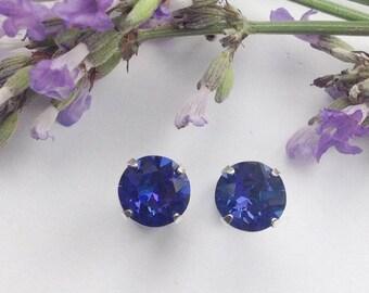 Striking Sterling silver earrings made using 8mm Swarovski Heliotrope crystals