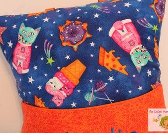 Cosmic Cat Reading Pillow // Kids Reading Pillow // Pocket Pillow // Cat Pillow