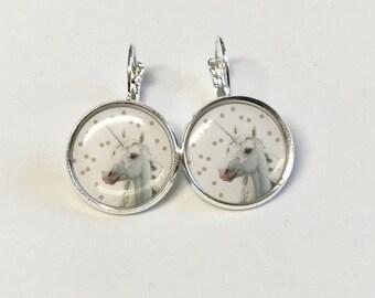 White Unicorn cabochon earrings