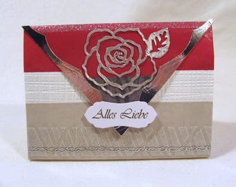 Small gift bag + magnetic clasp + label rose silver/Red/... Manual work