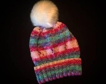Child's striped bobble hat