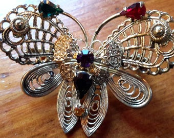 Vintage Rhinestone Filagree Butterfly Brooch Pin