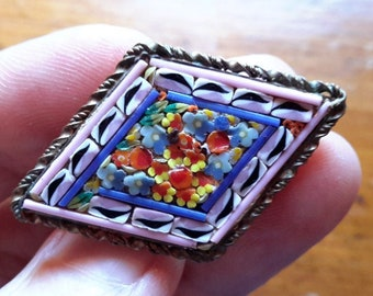 Colorful Little Antique Vintage Floral Micromosaic Brooch Pin