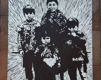 Family Woodcut Print by Cesar Chavez