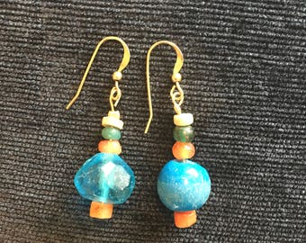Carnelian and Roman glass earrings