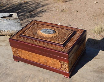 Wooden storage or jewelry box with oval stone