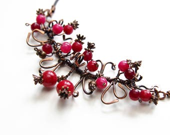 Necklace, Lampwork,Victorian Necklace, Repurposed Vintage Jewelry, Vintage Ruby Pomegranate Stones
