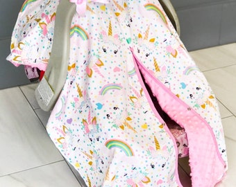 Soft Unicorn Car seat Cover canopy with bow nursing cover car seat canopy cover Infant car seat cover Baby shower gift